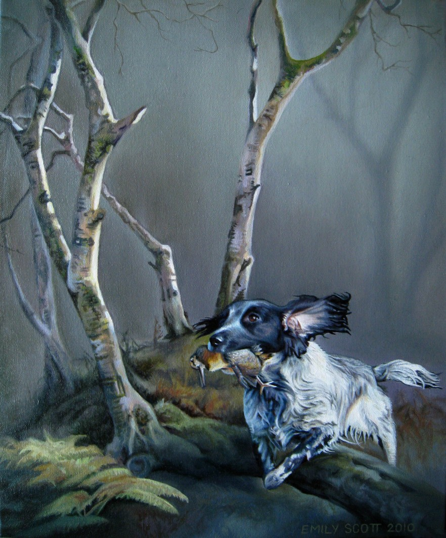 painting of a woodcock hunt
